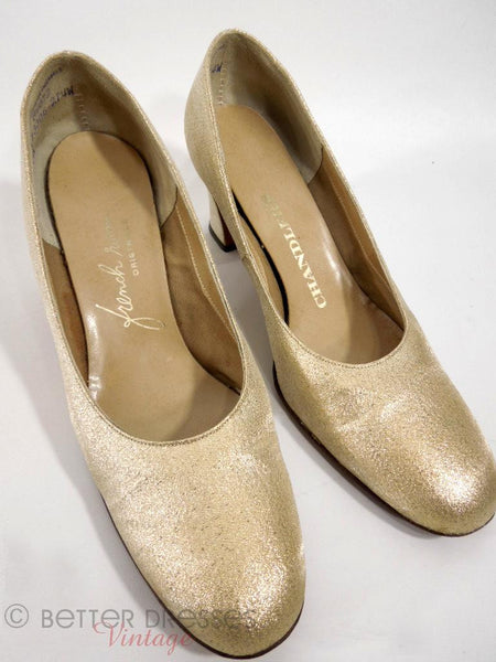 60s Mod Pumps in Gold Fabric - front