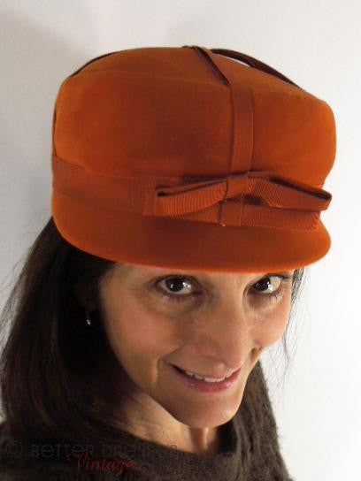 60s Orange Mod Hat