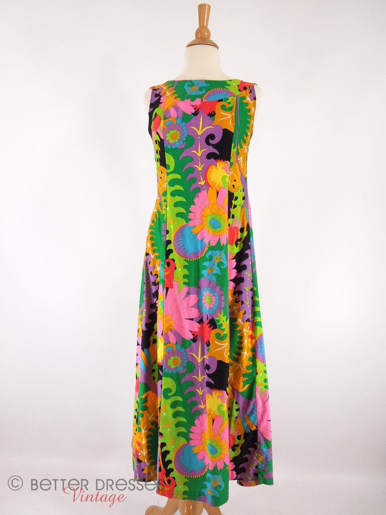 60s Psychedelic Hawaiian Dress - front