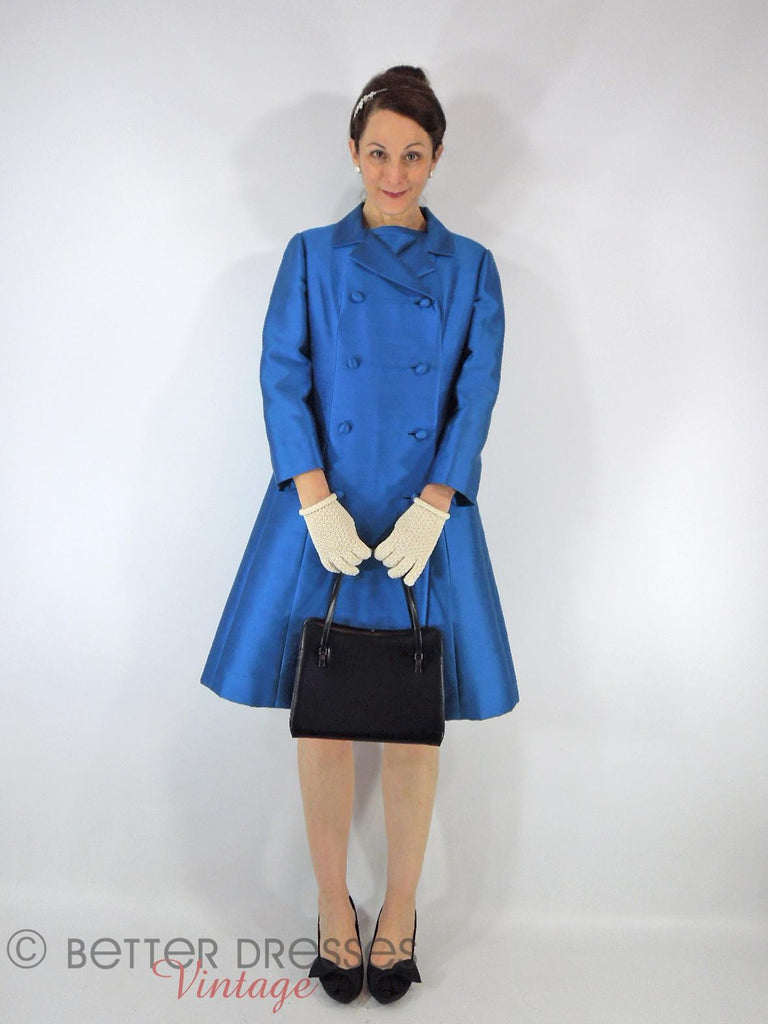 60s Bright Blue Shift Dress & Coat - front