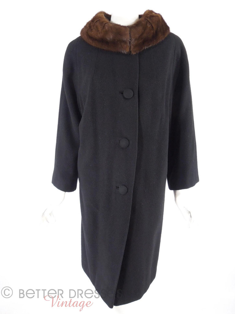 60s Cashmere Coat with Mink Collar - collar closed