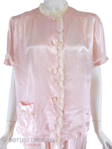 40s Pink Rayon Pajamas - top close view