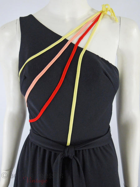 70s Strappy Shoulder Disco Dress - close view