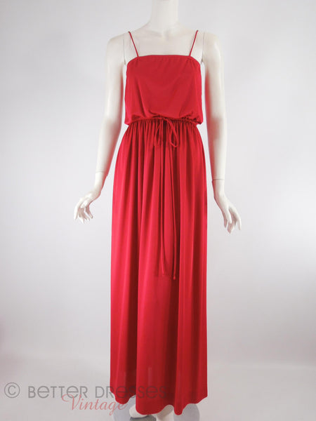 70s Red Maxi Dress - front