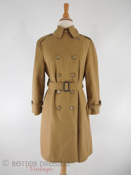 60s/70s Khaki Trench Coat - buttoned up