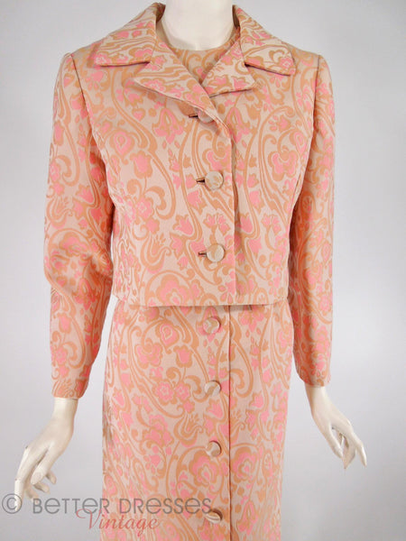 60s Peach and Taupe Dress Suit - close