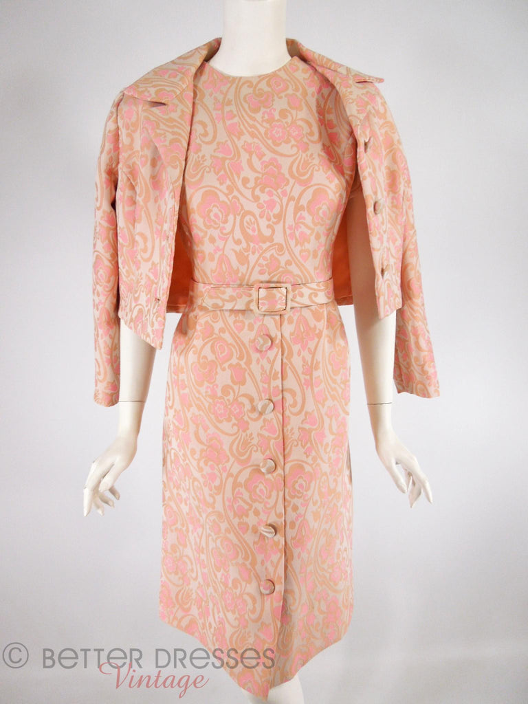 60s Peach and Taupe Dress Suit - jacket on shoulders