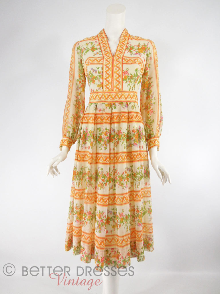 70s Orange Stripe and Floral Dress - overview