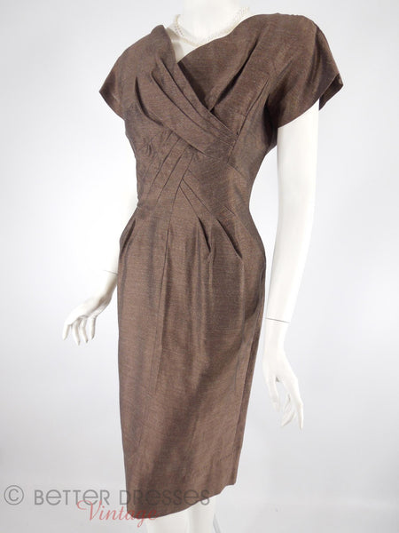 50s Brown Sheath Dress - angle view