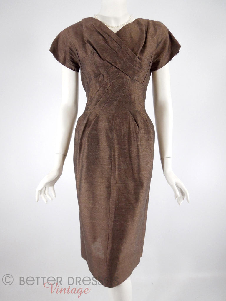 50s Brown Sheath Dress - front view
