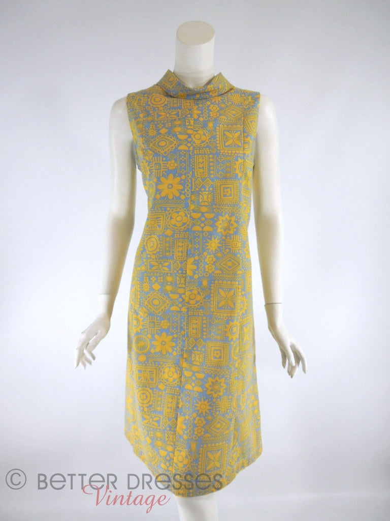 60s Yellow on Blue Shift Dress - front