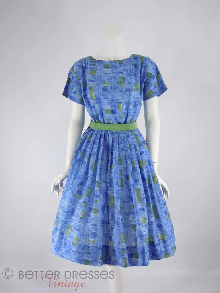 50s/60s Blue & Green Full Skirt Dress - front with crinoline