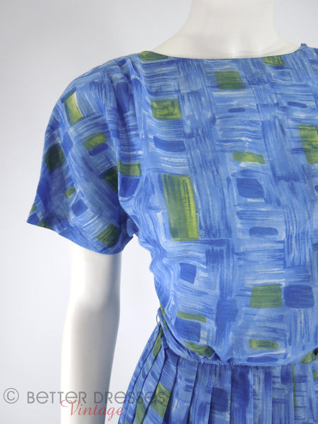 50s/60s Blue & Green Full Skirt Dress - details