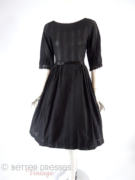 50s/60s Black Cotton Dress - with crinoline, front