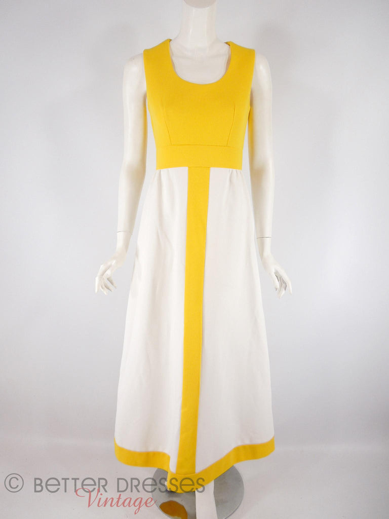 60s/70s Yellow + White Maxi - front