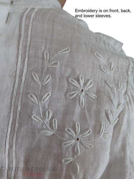 Antique Embroidered Blouse - xs, sm
