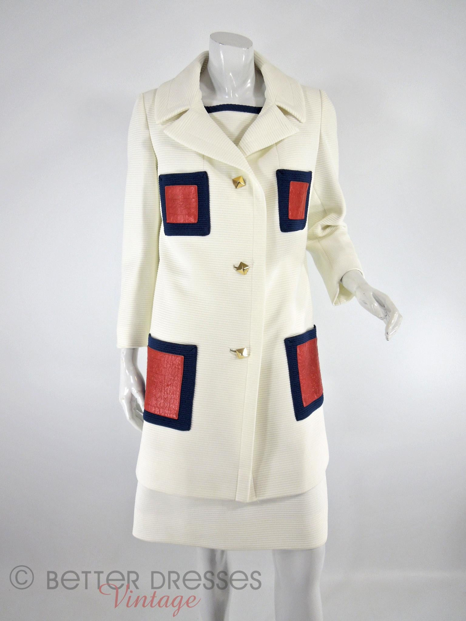 84b28a66e12b99 Vintage 1960s Lilli Ann Mod Dress & Coat Set in Red White and Blue ...