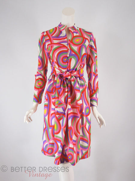 60s/70s Psychedelic Shirtwaist - tied in front