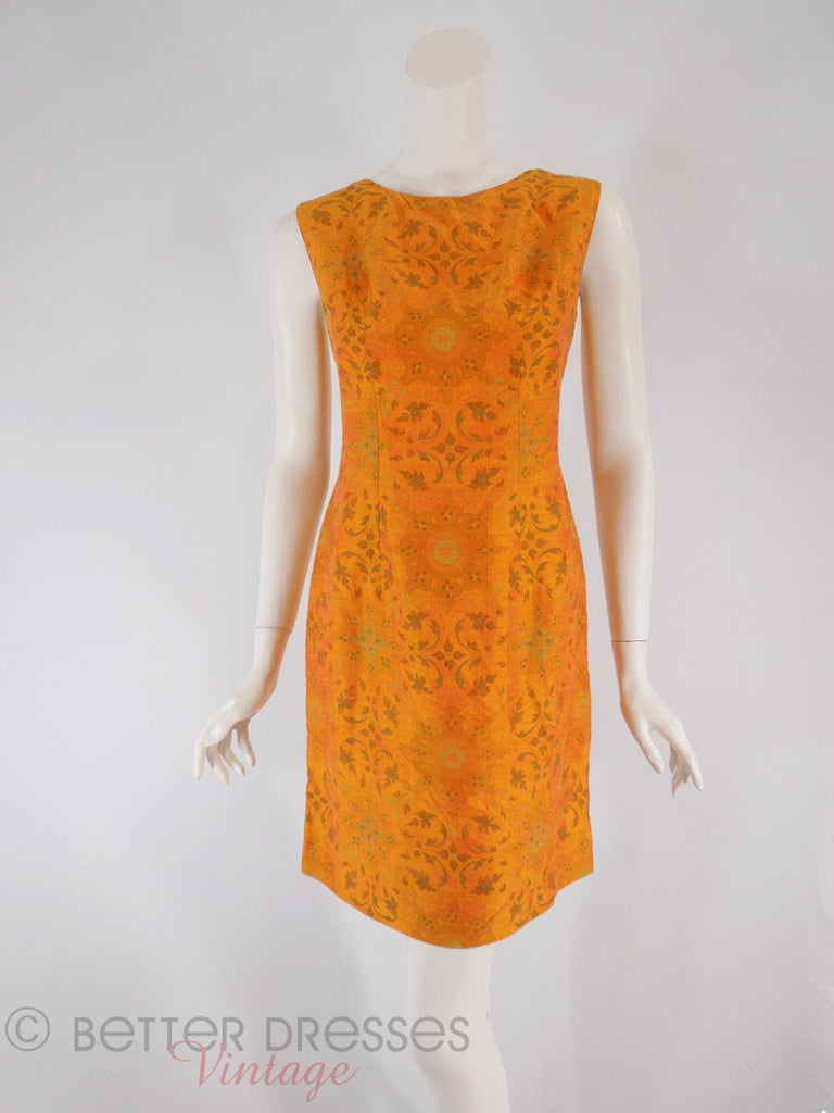 60s Orange Silk Sheath - front