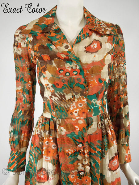 60s/70s Autumn Colors Hostess Dress - close
