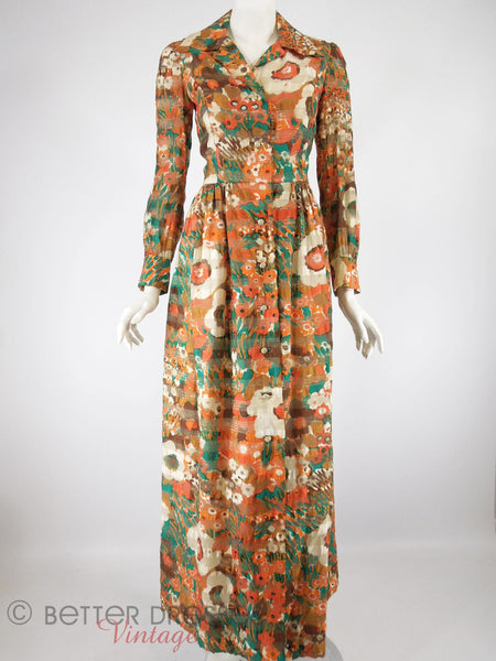 60s/70s Autumn Colors Hostess Dress - front