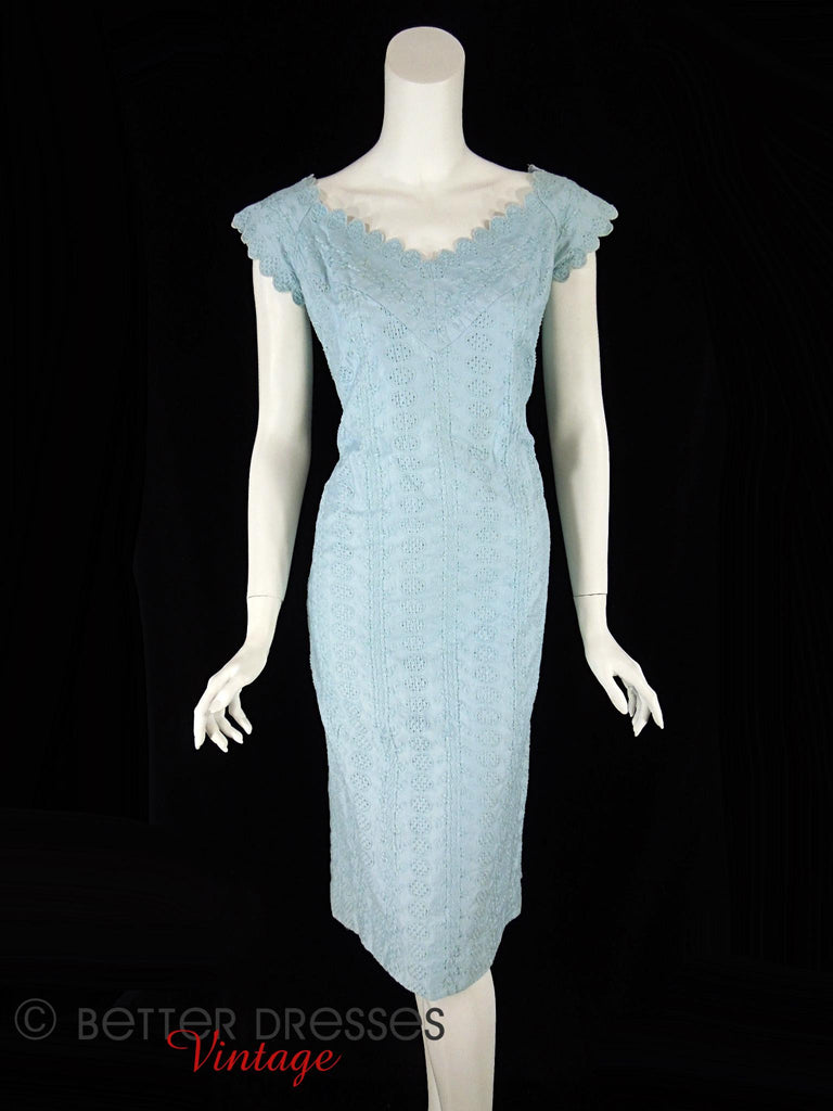 50s Light Blue Eyelet Dress - against black