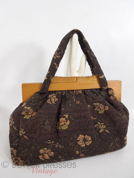 40s wood Frame Carpet Bag Purse - side 1