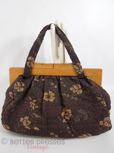40s wood Frame Carpet Bag Purse - side 2