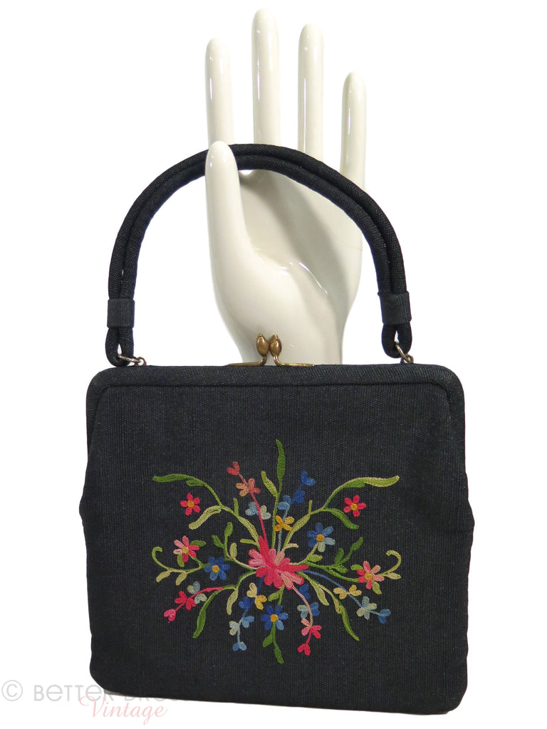 50s Ingber Black Wool Handbag With Crewel Embroidery