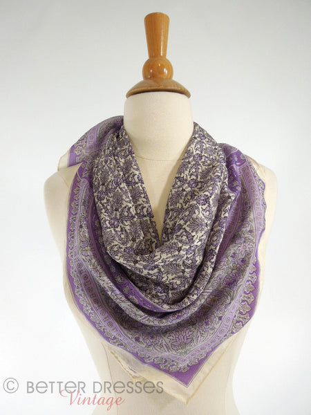 Vtg Lavender Thistles Silk Scarf - around neck