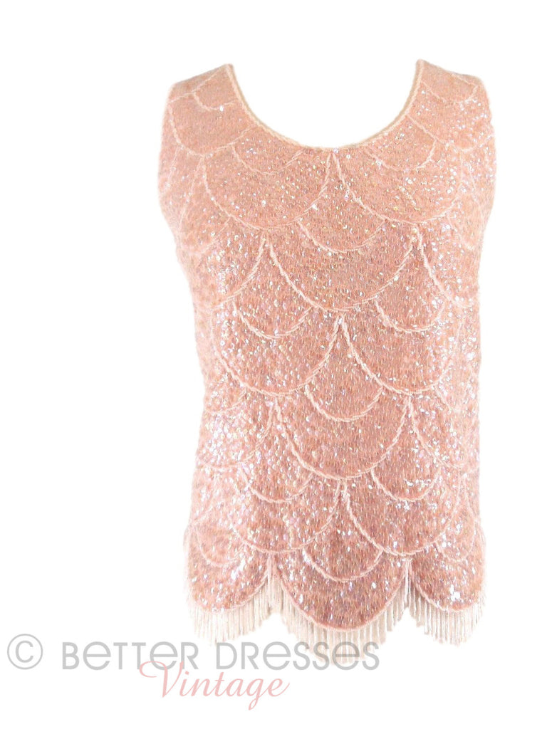60s Pink Beaded Shell - front