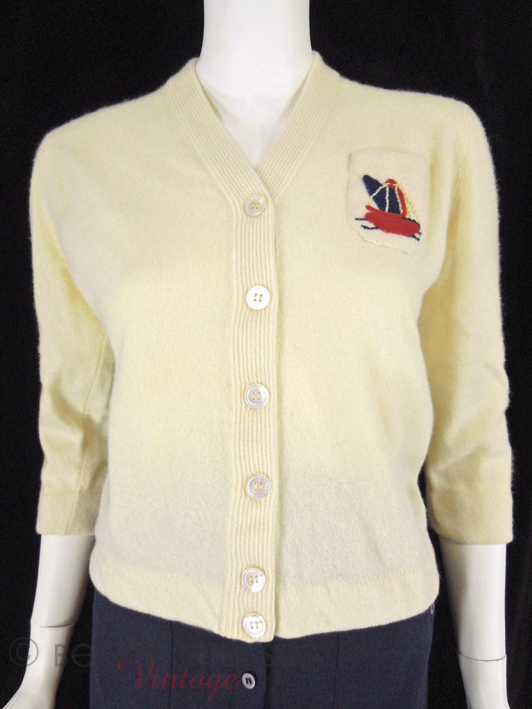 50s Cashmere Cardigan - front close view