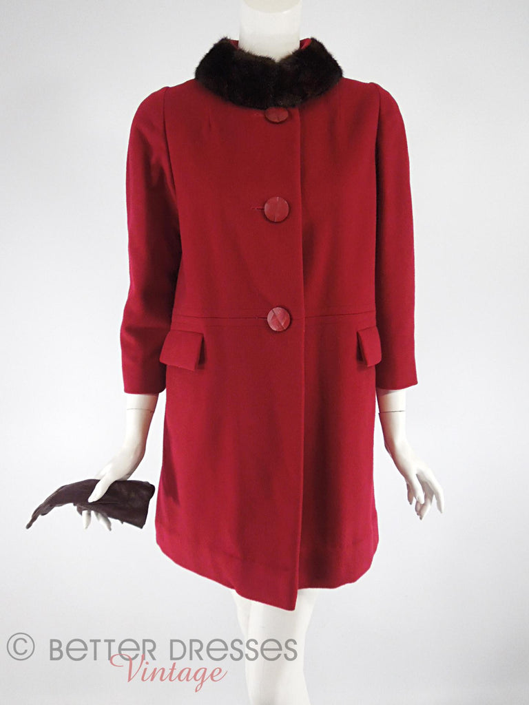 60s Red Wool Coat - mink collar closed