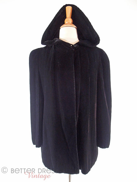 40s Hooded Velvet Opera Jacket - hood up, front view