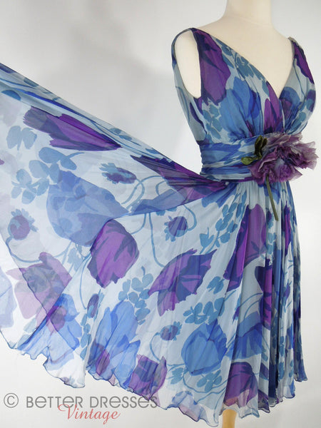 60s Blue and Purple Silk Party Dress - skirt held out