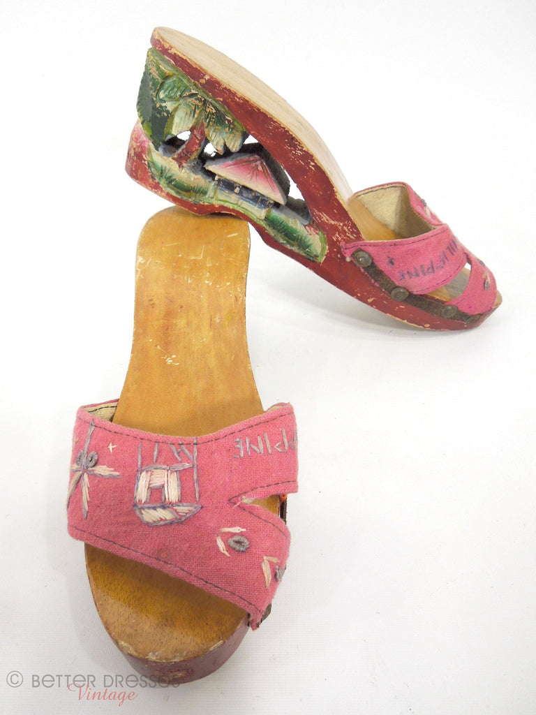 40s Philippine Wooden Shoes - overview
