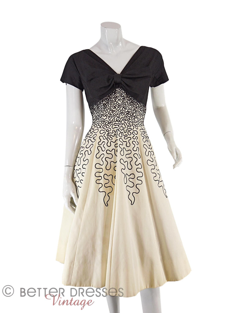 50s Black and White Party Dress