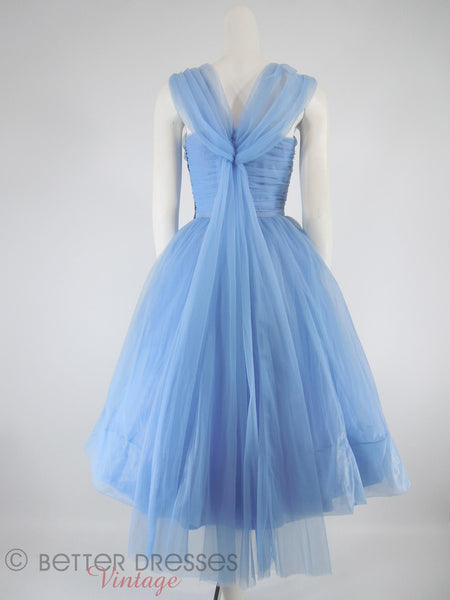 50s Periwinkle Blue Party Dress - back with crinoline