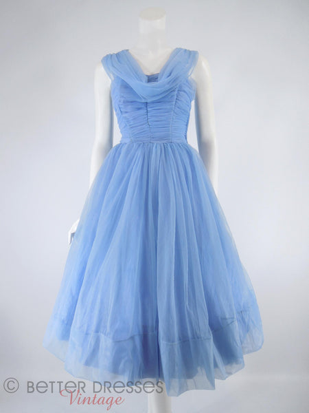 50s Periwinkle Blue Party Dress - front with crinoline