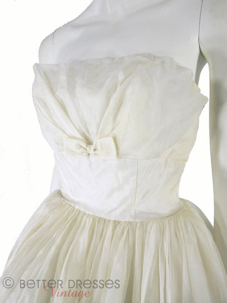 50s/60s Strapless White Cupcake Gown - angle close on white