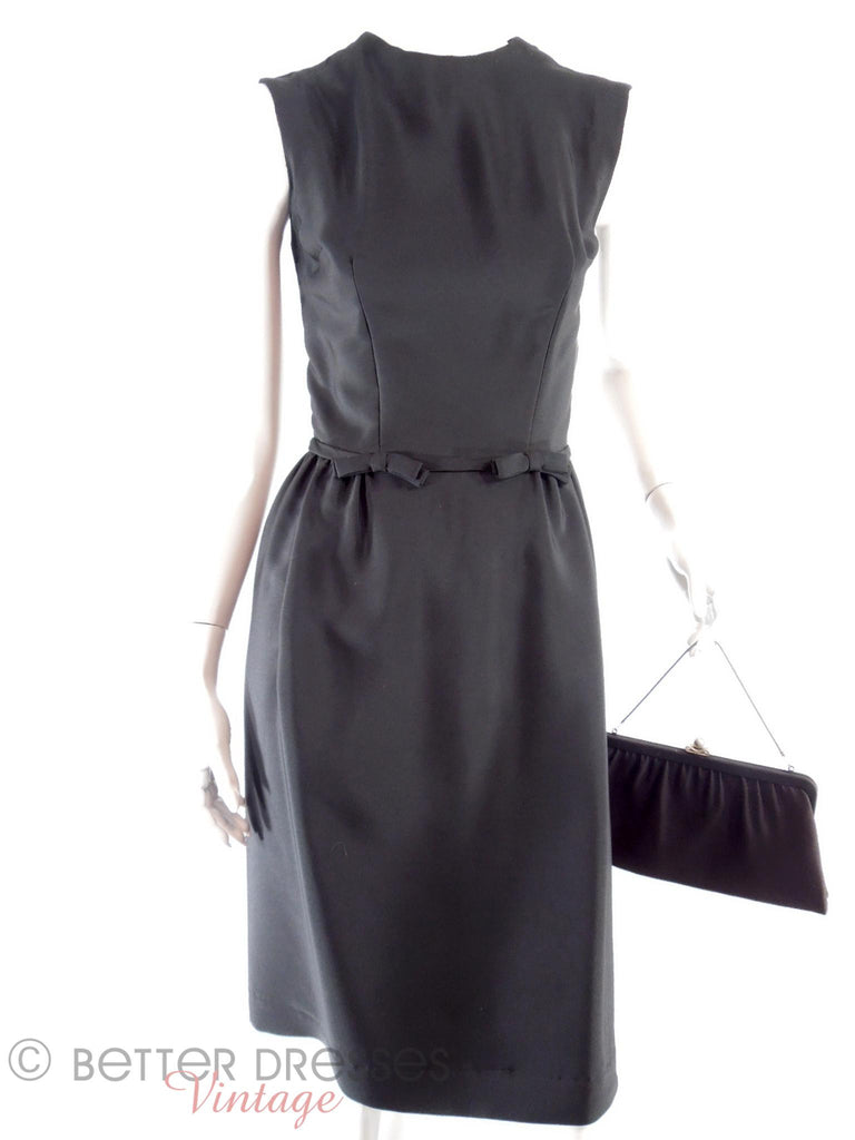 50s Little Black Sheath Dress - front