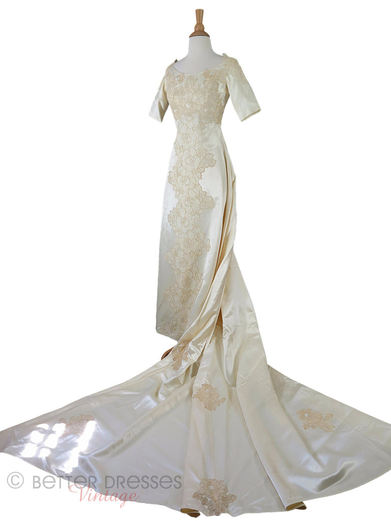 60s Satin + Lace Wedding Gown - train at waist