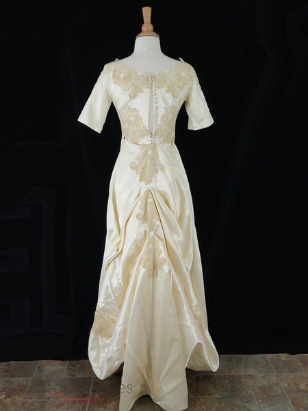 60s Satin + Lace Wedding Gown - train bustled
