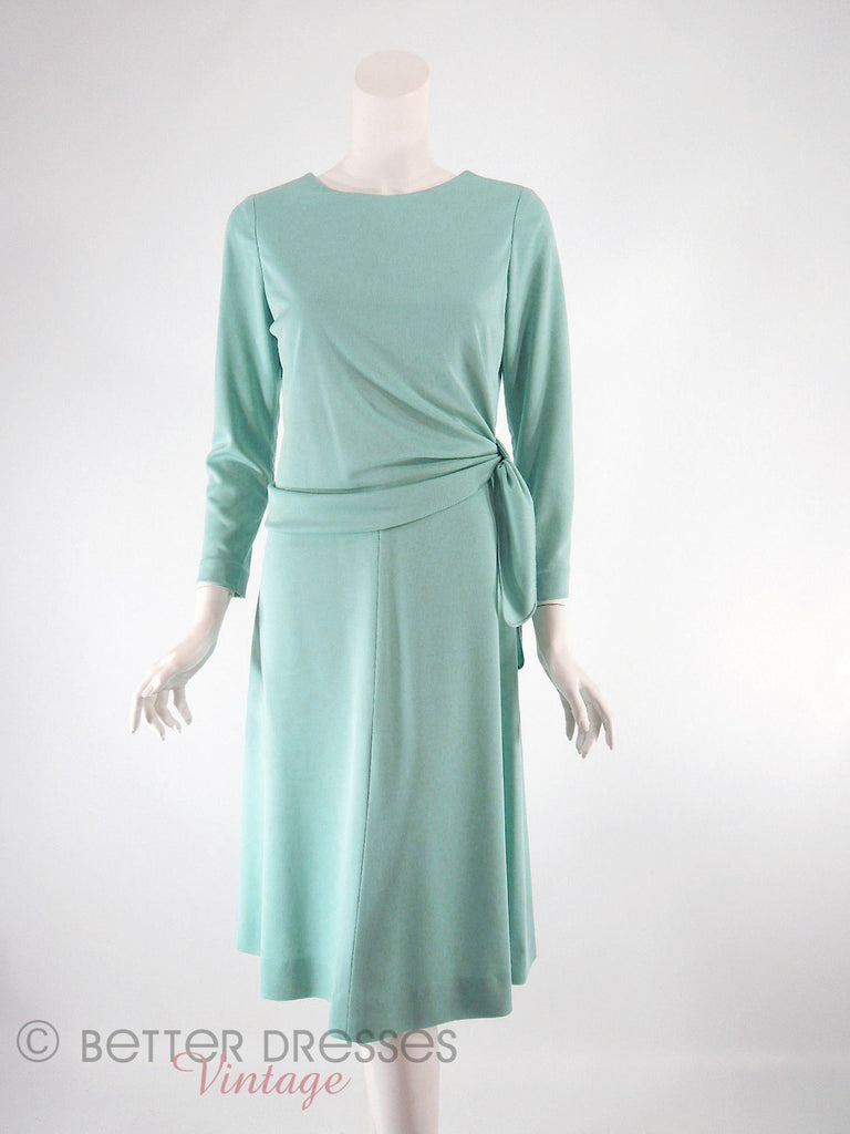 70s Aqua Tie Bodice Dress - tied higher