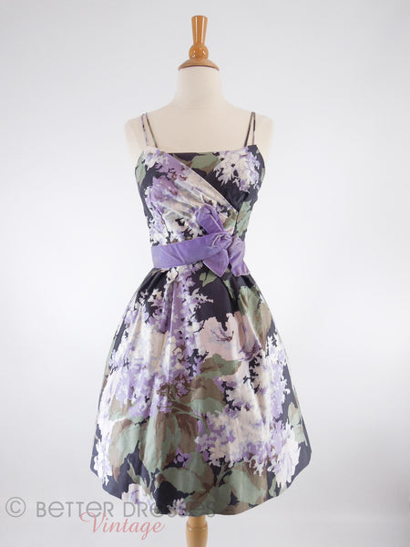50s Purple Floral Party Dress - with crinoline