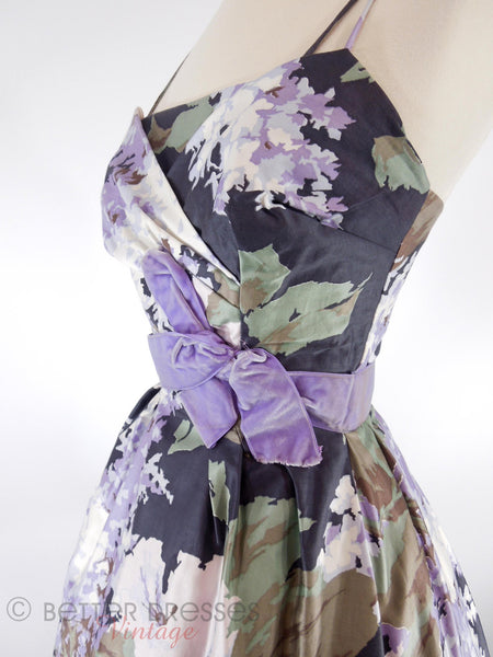 50s Purple Floral Party Dress - angle view