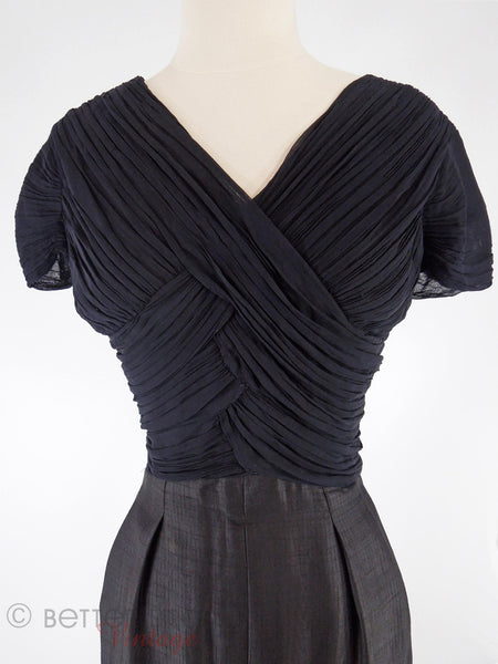 50s Ruched Criss-Cross Bodice LBD - close view