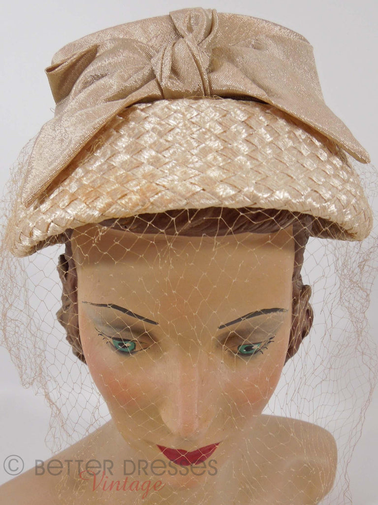 50s Cream Straw Veil Hat - front