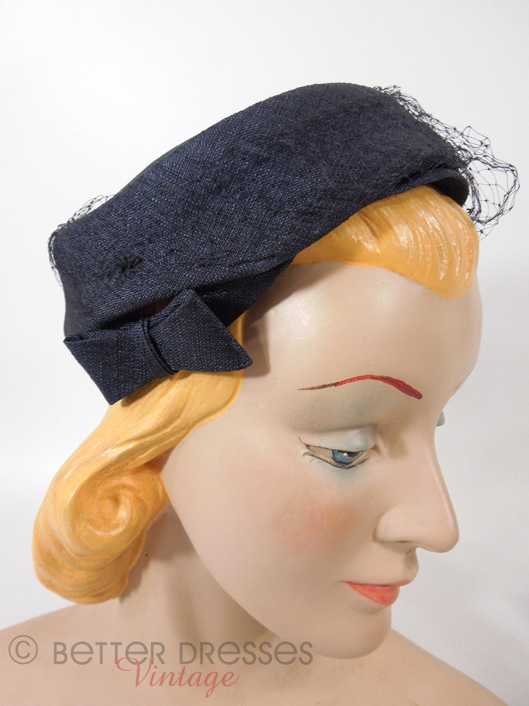50s Pillbox Veil Hat With Side Bows
