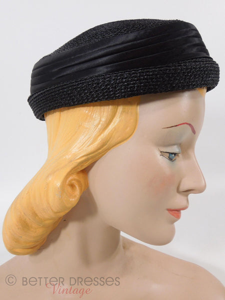 50s/60s Black Straw and Satin Hat - right side